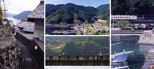 紀勢本線の尾鷲から熊野市の間には、リアス式海岸に沿って賀田、二木島、遊木、といった町が並ぶ。どの町も昔ながらの家並みと人との暮らしがよく残されており、訪れる人に郷愁を感じさせる。