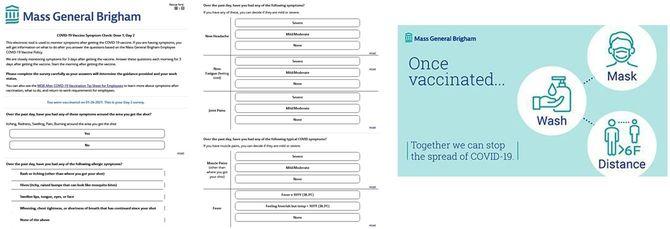 (左)接種終了後、3日間毎日副反応をチェックするメールが来て、アプリで返答するようになっている。/(右)接種が終わっても、感染対策を怠らないように指導がある