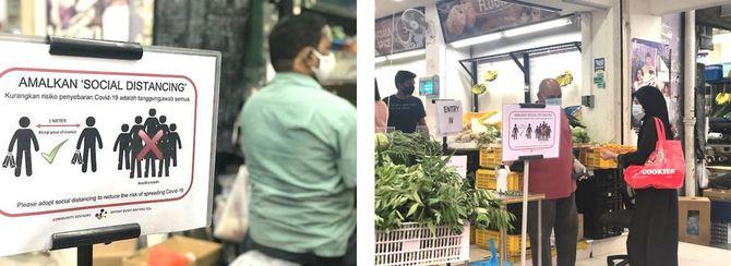 クアラルンプール市内のスーパーマーケットでは、入店前に必ず体温チェック