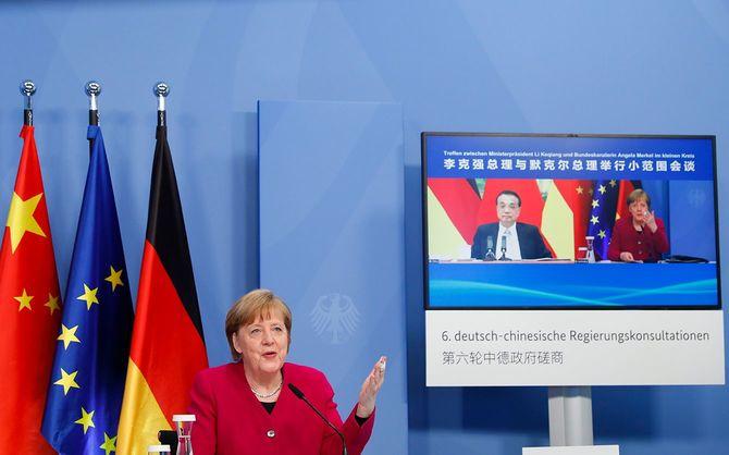李克強総理とドイツのメルケル首相が共同議長を務める第6回中独政府間協議が、オンラインで開催された=2021年4月28日