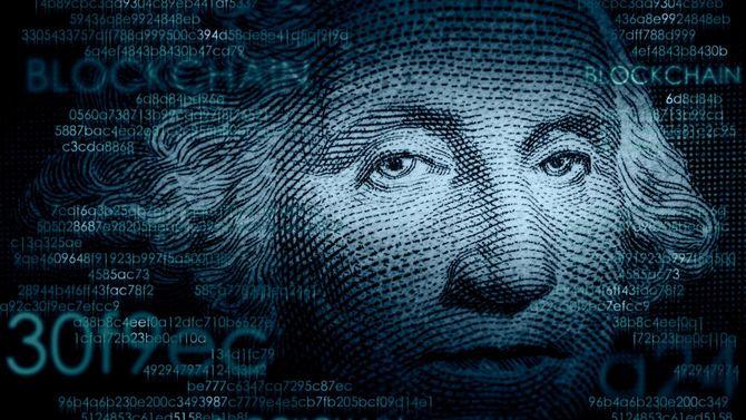 1ドル紙幣とブロックチェーンコードのクローズアップ