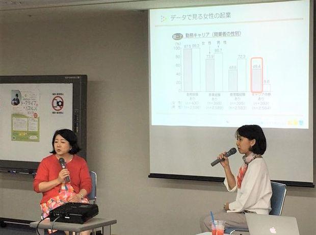 起業したい女性に向けたセミナーで講演をする郷田さん(右)。2018年10月、福岡県北九州市で