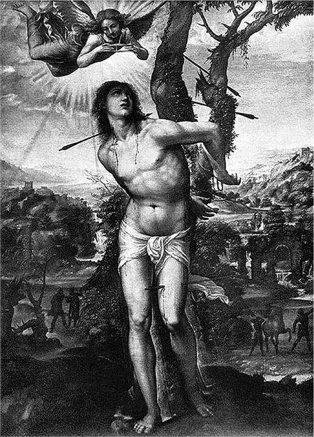 ソドマ 〈聖セバスティアヌス〉1525~26年/ピッティ美術館 フィレンツェ/セバスティアヌスは柱に縛り付けられている殉教の場面がよく描かれる