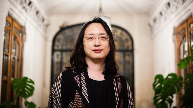 台湾の蔡英文政権において35歳の若さで行政院に入閣したオードリー・タン氏=2016年3月9日