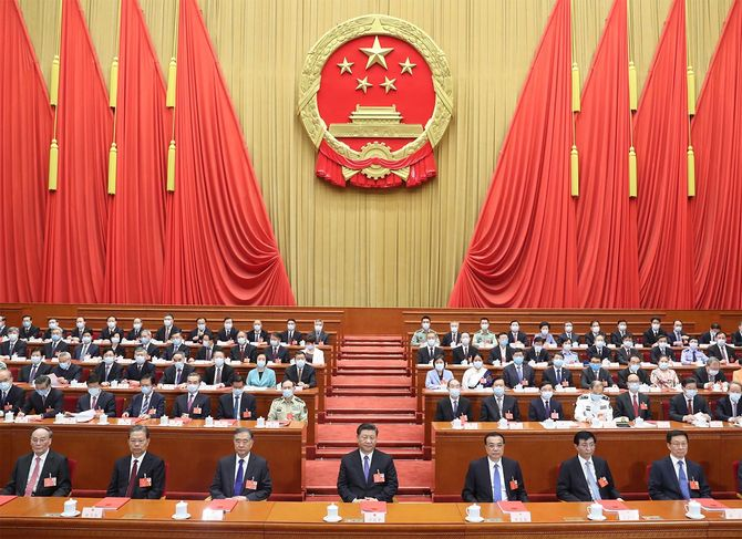 中国・北京で開かれた全国人民代表大会(全人代)年次総会閉会式の様子=2020年5月28日