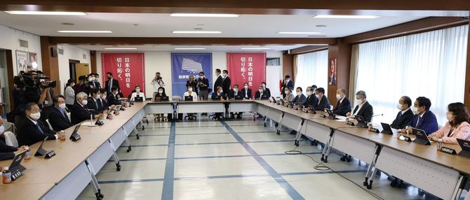 LGBT法案などについて議論された自民党総務会=2021年5月28日、東京・永田町の同党本部