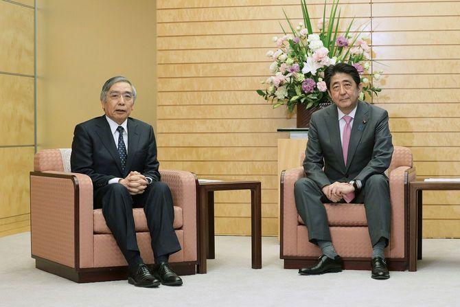 安倍晋三首相(右)と会談する日本銀行の黒田東彦総裁