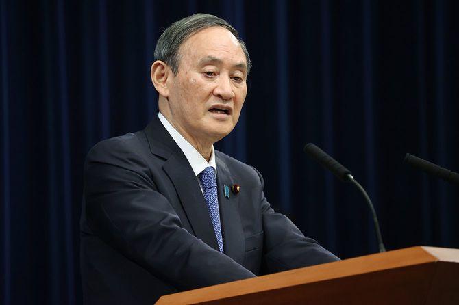 1都3県への緊急事態宣言について、記者会見する菅義偉首相