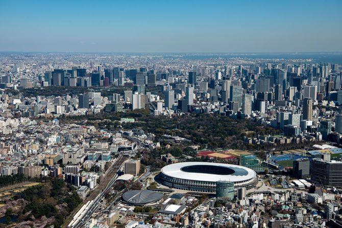 国立競技場周辺より都心(東京都新宿区=2020年3月25日)