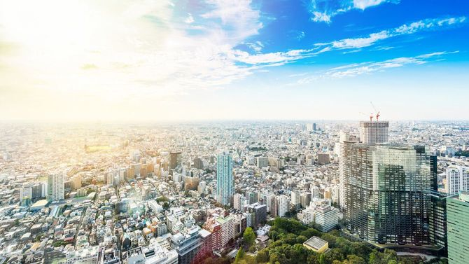 東京の街のパノラマ写真