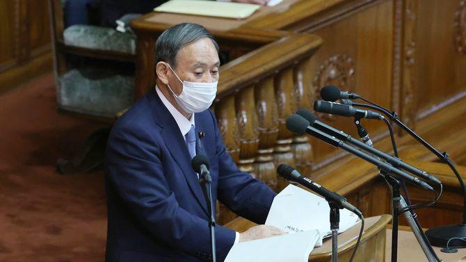 衆院本会議で所信表明演説をする菅義偉首相=10月26日午後、国会内