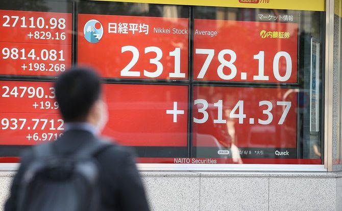 約3カ月半ぶりに終値で2万3000円台を回復した日経平均株価=2020年6月8日、東京都中央区