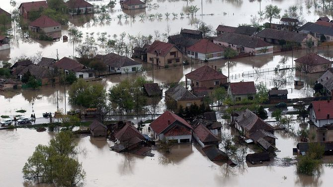 浸水した家の航空写真